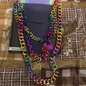 rainbow padlock chains necklaces